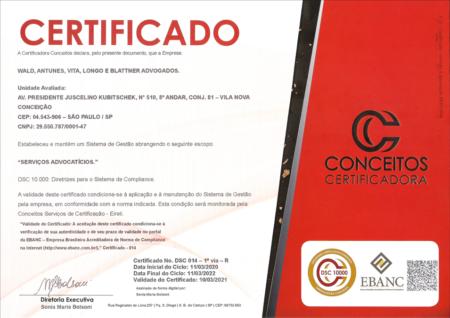 Certificado de Compliance